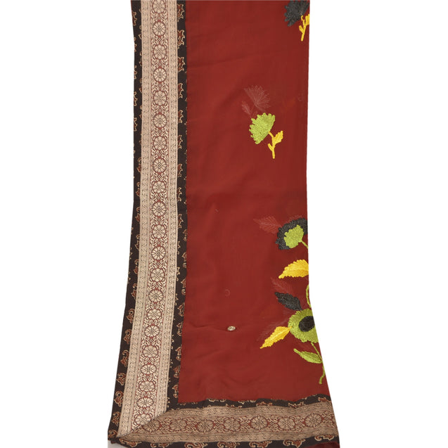 Sanskriti Vintage Dupatta Long Stole Georgette Dark Red Veil Hand Beaded Scarves