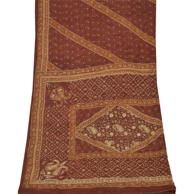 Vintage Dupatta Long Stole Crepe Silk Brown Hijab Hand Beaded Wrap Scarves