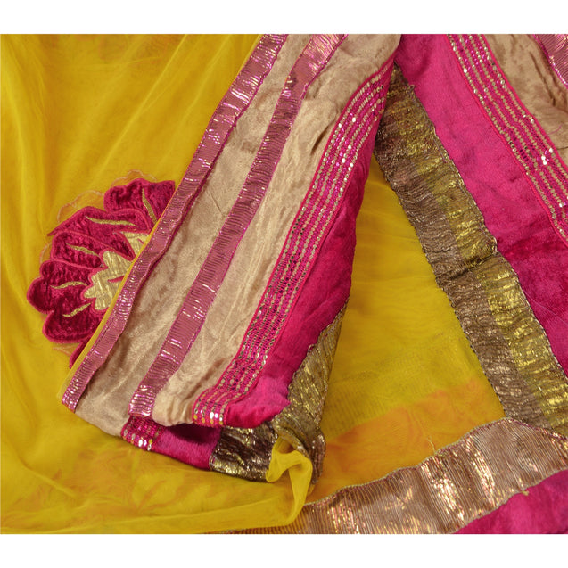 Sanskriti Vintage Dupatta Long Stole Net Mesh Yellow Veil Embroidered Scarves
