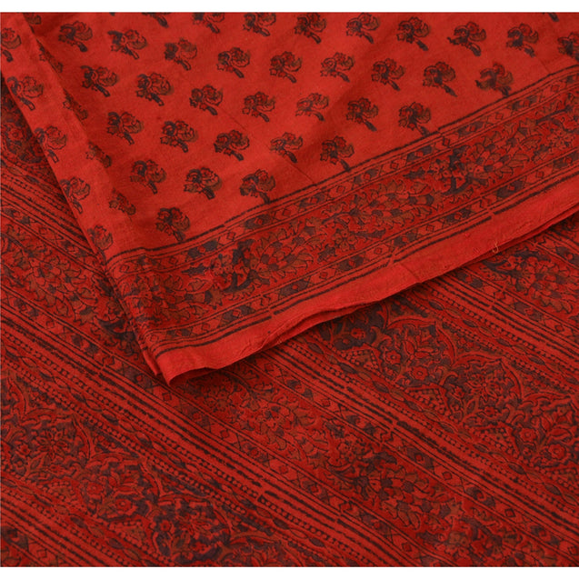Vintage Dupatta Long Stole Cotton Veil Orange Hijab Block Printed Wrap Shawl