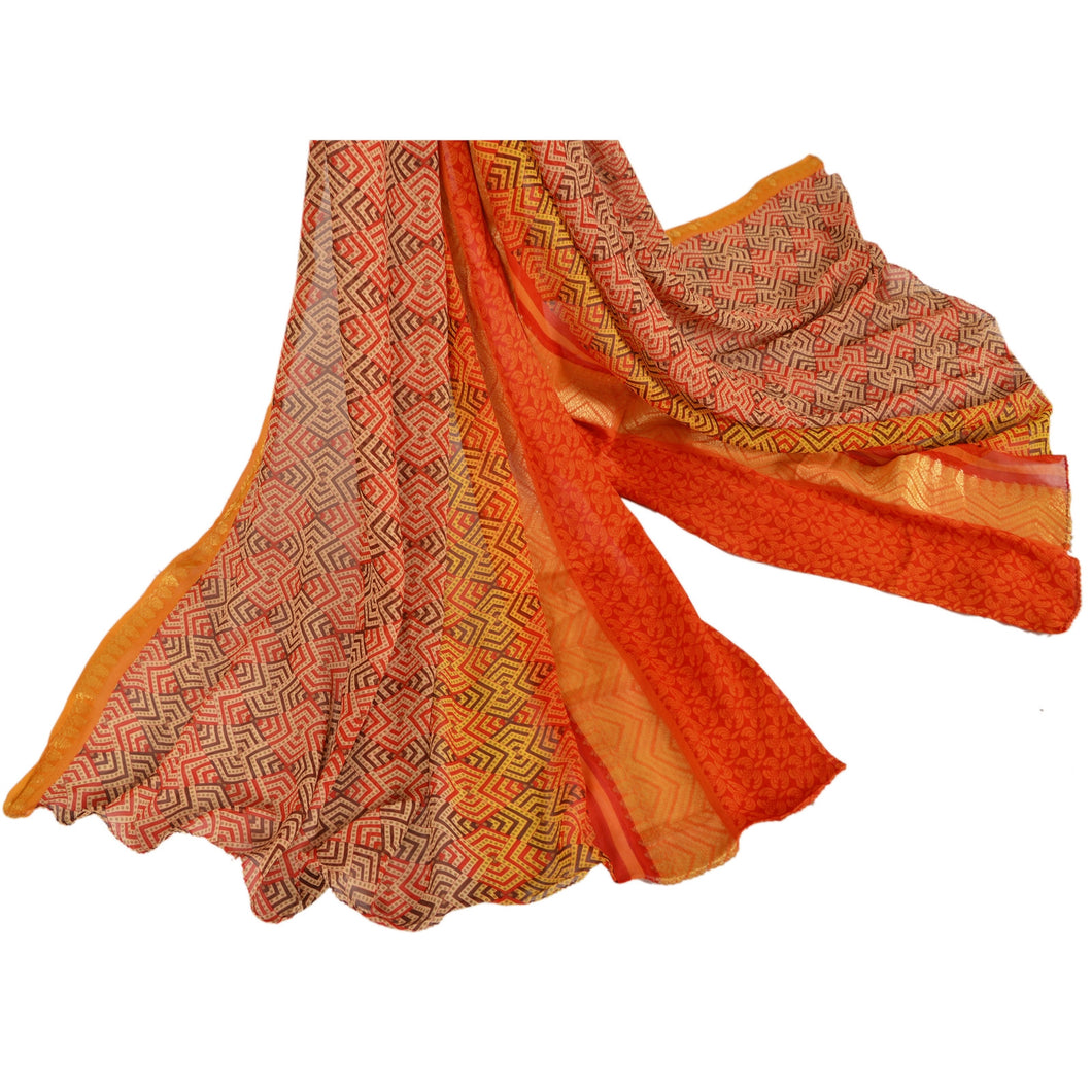 Sansriti Dupatta Vintage Long Stole 100% Pure Georgette Silk Orange Printed Veil