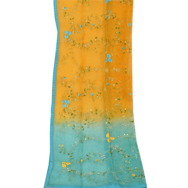 Sanskriti Vintage Dupatta Long Stole Organza Yellow Veil Embroidered Scarves