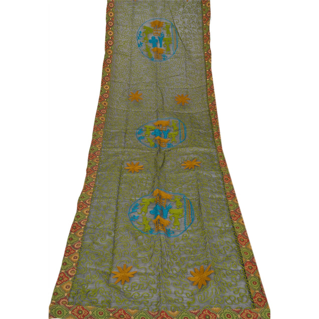Vintage Dupatta Long Stole Cotton Green Veil Hand Embroidered Wrap Scarves
