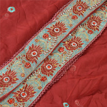 Load image into Gallery viewer, Sanskriti Vintage Dupatta Long Stole Georgette Dark Red Shawl Hand Beaded Veil