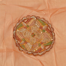 Load image into Gallery viewer, Vintage Dupatta Long Stole 100% Pure Silk Peach Shawl Hand Beaded Scarves
