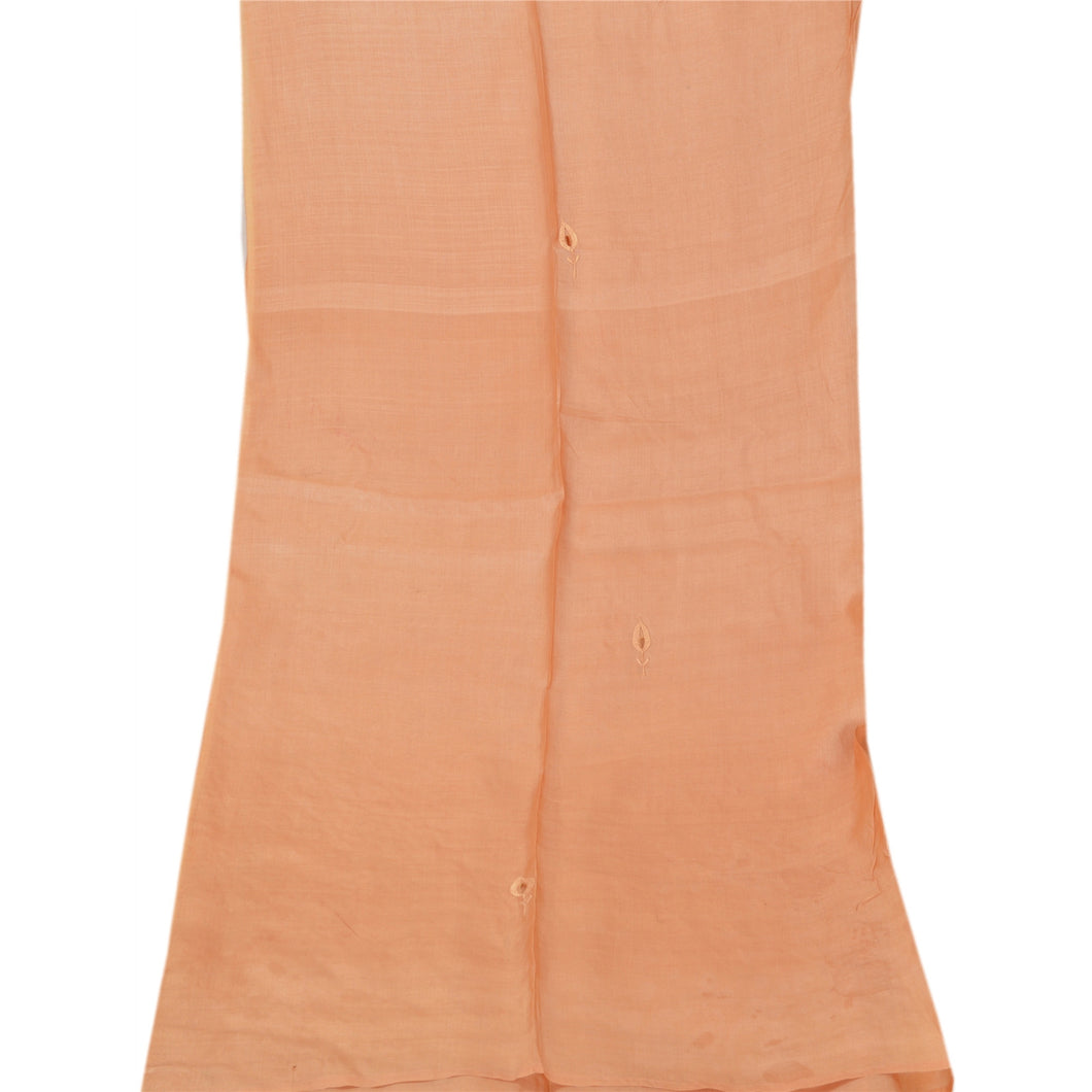 Vintage Dupatta Long Stole 100% Pure Silk Peach Shawl Hand Beaded Scarves