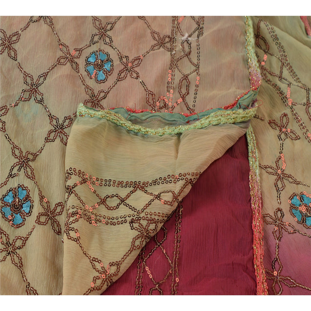 Sanskriti Vintage Dupatta Long Stole Chiffon Silk Pink Embroidered Wrap Shawl