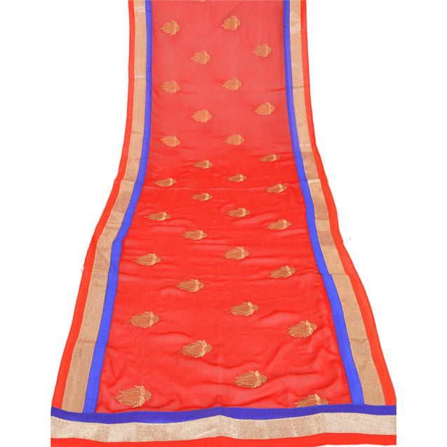 Sanskriti Vintage Dupatta Long Stole Georgette Red Shawl Embroidered Scarves
