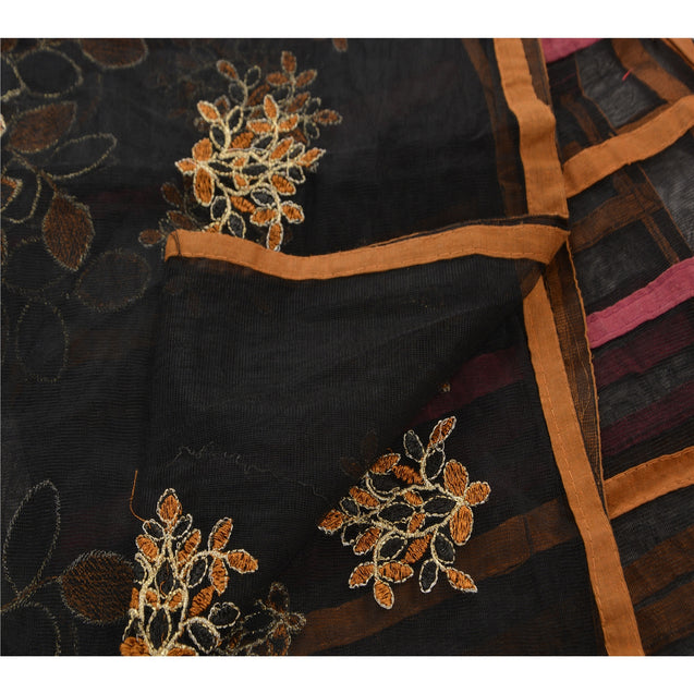 Sanskriti Vintage Dupatta Long Stole Net Mesh Black Shawl Embroidered Veil