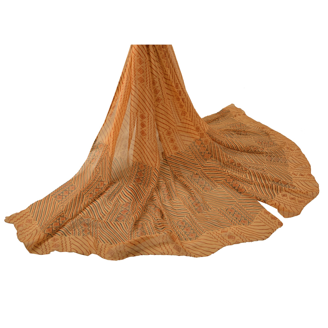 Sanskriti Vintage Dupatta Long Stole Georgette Cream Shawl Printed Wrap Scarves