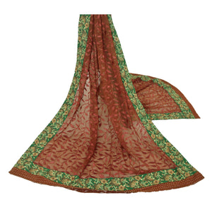 Dupatta Long Stole Chiffon Silk Brown Embroidered Wrap Scarves