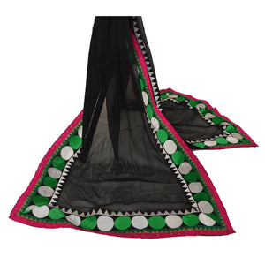 Dupatta Long Stole Chiffon Silk Black Hijab Embroidered Veil