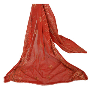 Dupatta Long Stole Chiffon Silk Brick Red Embroidered Shawl
