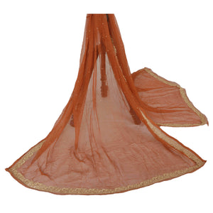 Dupatta Long Stole Chiffon Silk Orange Hand Beaded Scarves