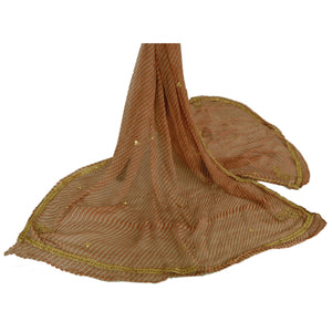 Dupatta Long Stole Chiffon Silk Brown Hand Beaded Leheria Veil