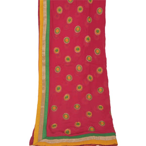 Dupatta Long Stole Georgette Pink Shawl Embroidered Scarves