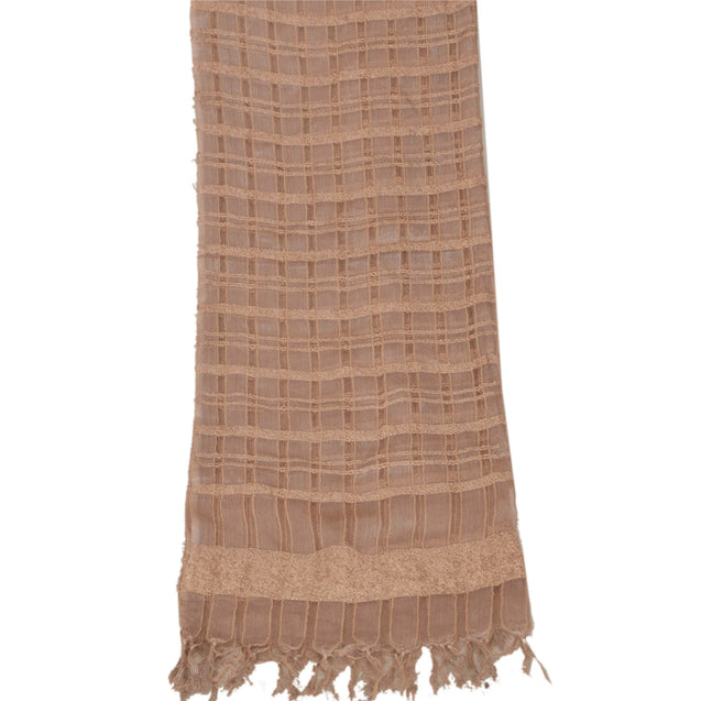 Dupatta Long Stole Organza Shawl Brown Woven Wrap Hijab