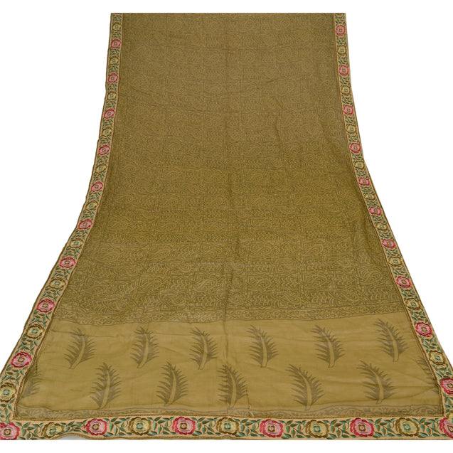 Dupatta Long Stole Blend Cotton Green Embroidered Scarves