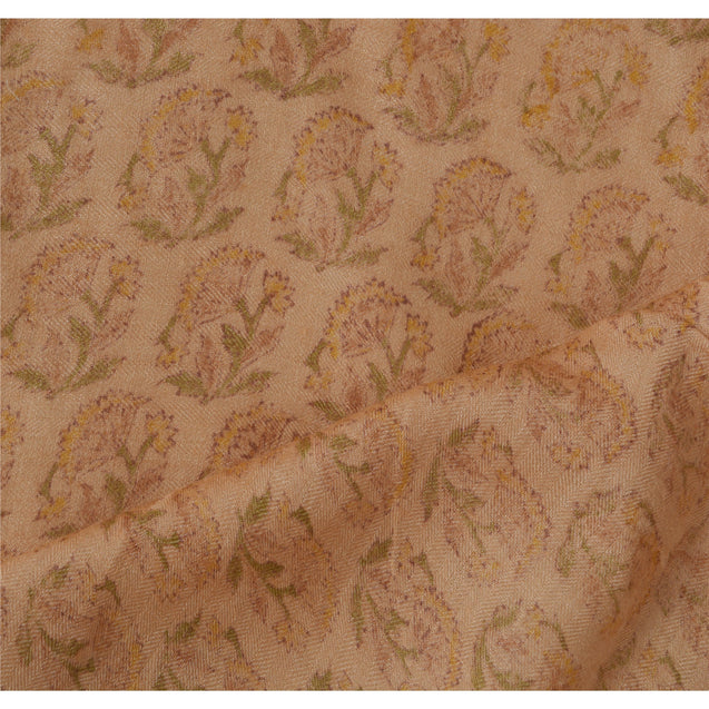 Dupatta Long Stole 100% Pure Woolen Peach Printed Wrap Scarves