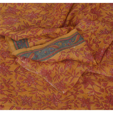 Dupatta Long Stole 100% Pure Woolen Yellow Shawl Printed Veil