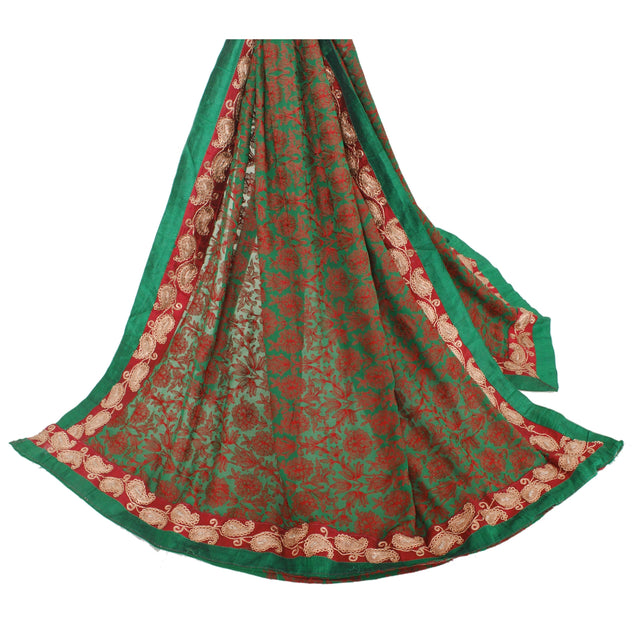 Dupatta Long Stole Pure Georgette Silk Green Embroidered Shawl