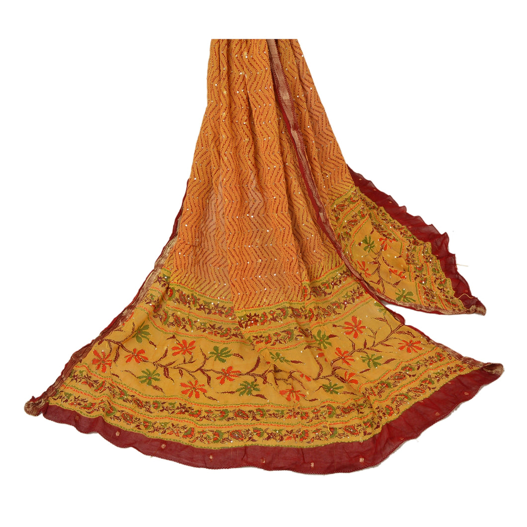 Sanskriti Vintage Dupatta Long Stole Blend Cotton Yellow Hand Embroidered Kantha