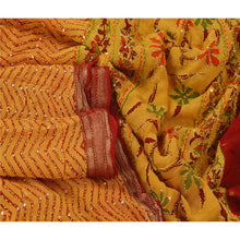 Load image into Gallery viewer, Sanskriti Vintage Dupatta Long Stole Blend Cotton Yellow Hand Embroidered Kantha