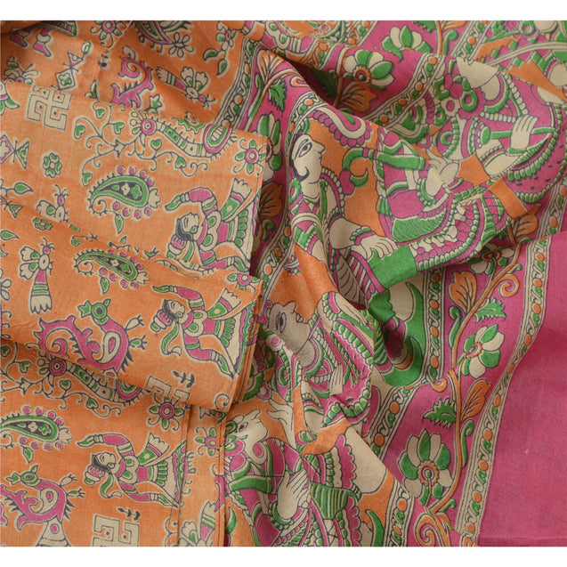 Dupatta Long Stole Pure Silk Orange Pattachitra Scarves Shawl