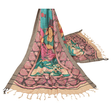 Sanskriti Vintage Dupatta Long Stole Pure Woolen Green Shawl Printed Scarves