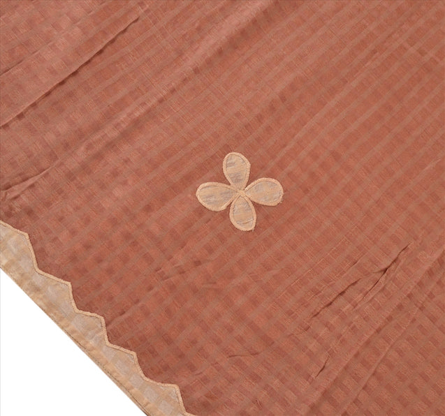 Sanskriti Vintage Dupatta Long Stole Cotton Brown Hijab Embroidered Wrap Veil