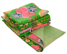 Load image into Gallery viewer, New Indian Gudari Kantha Cotton Full Throw Bedspread Hand Made Needle Work