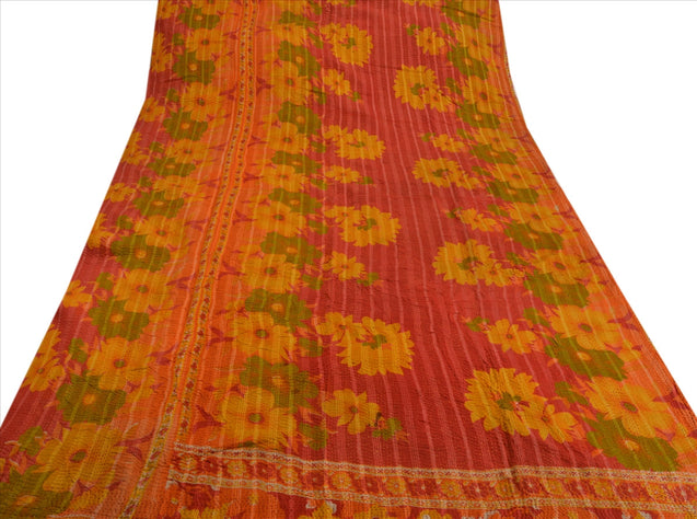Vintage Indian Gudari Kantha Cotton Full Throw Bedspread Hand Made Needle Work
