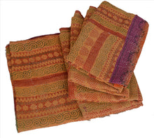 Load image into Gallery viewer, Vintage Indian Gudari Kantha Cotton Full Throw Bedspread Hand Made Needle Work