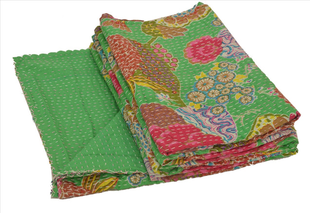 New Indian Gudari Kantha Cotton Full Throw Bedspread Hand Made Needle Work