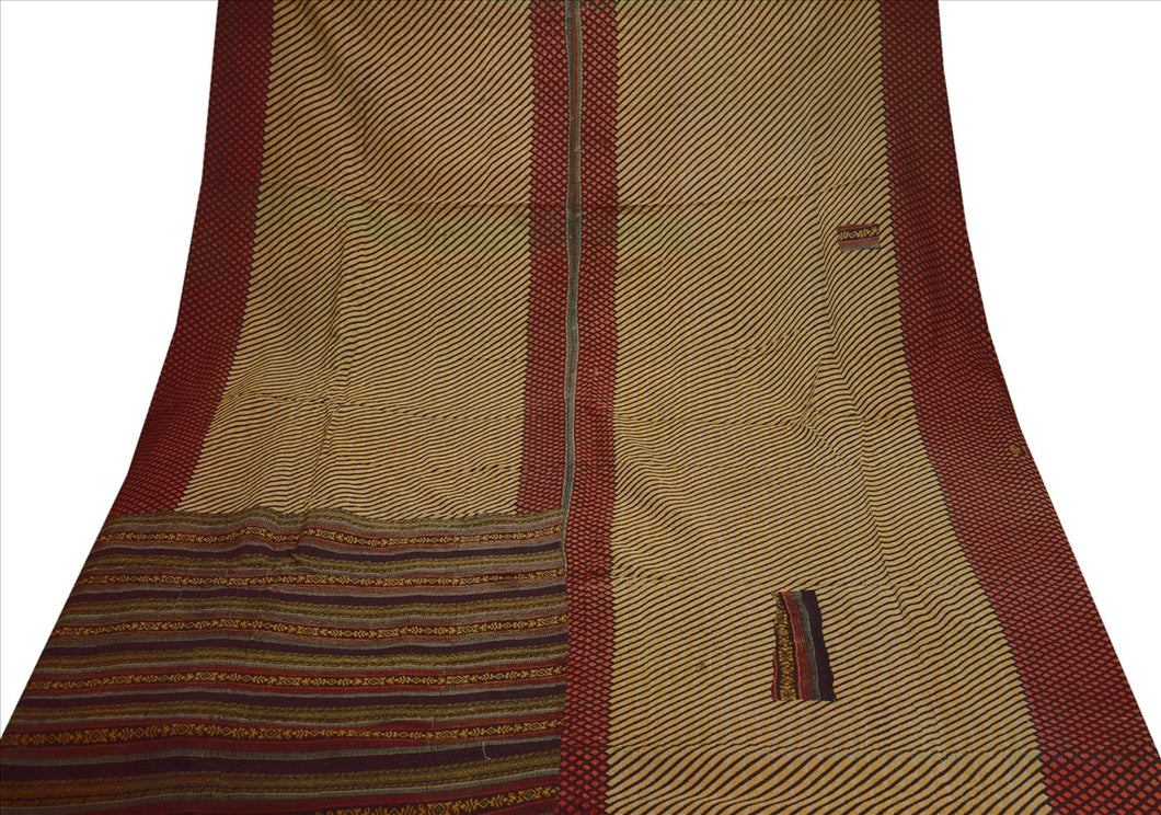 VINTAGE INDIAN GUDARI KANTHA COTTON FULL THROW BEDSPREAD HAND MADE GUDRI MULTI