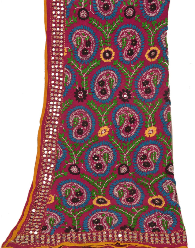 Sanskriti Vintage Purple Dupatta Long Stole Georgette OOAK Hand Embroidered Phulkari Scarves Wrap