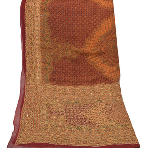 Sanskriti Vintage Heavy Dupatta Georgette Dark Red Hand Beaded Kantha Wrap Stole