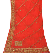 Load image into Gallery viewer, Sanskriti Vintage Heavy Dupatta 100% Pure Georgette Silk Red Hand Beaded Stole
