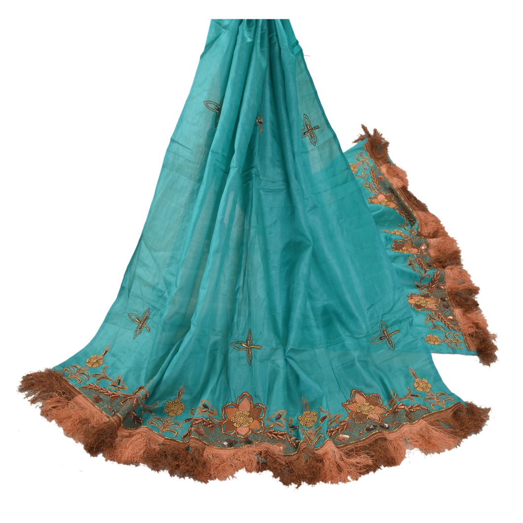 Sanskriti Vintage Indian Heavy Dupatta 100%  Pure Silk Green Hand Beaded Stole
