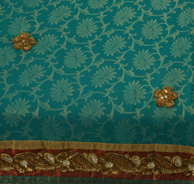 Vintage Indian 100% Pure Georgette Silk Saree With Blouse Hand Beaded Sari