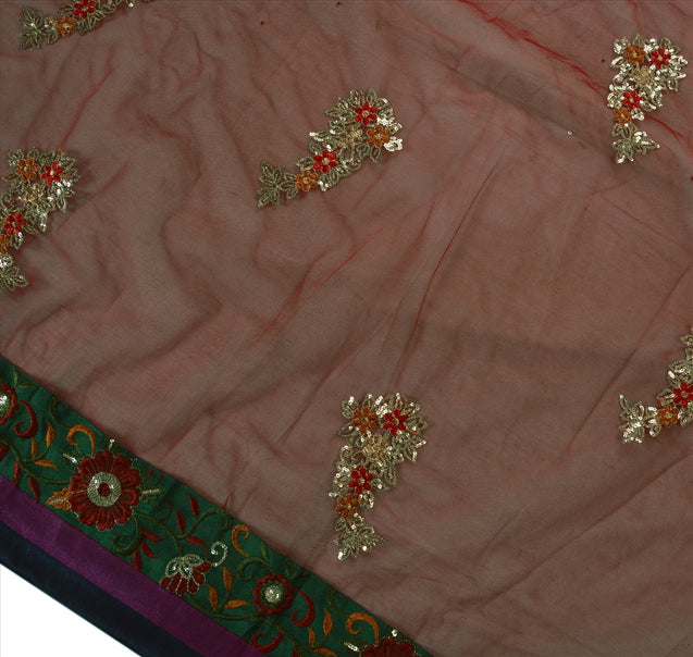 Vintage Indian Saree Net Mesh Embroidered Craft Fabric Sari Maroon Sequins Work