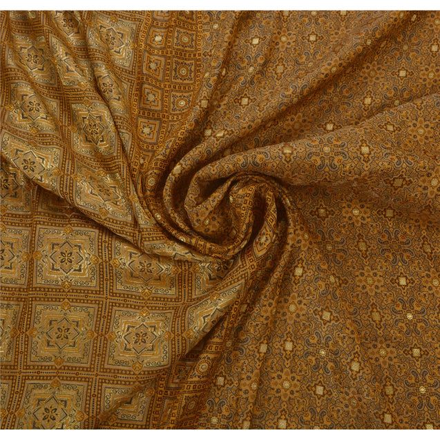 Heavy Saree Woven Pure Satin Silk Fabric Brocade 5 Yd Sari