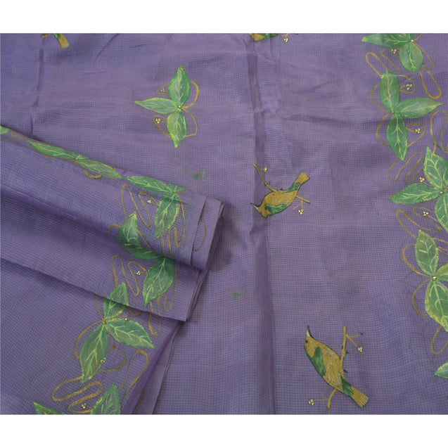 Heavy Saree 100% Pure Silk Hand Painted Purple Craft Sari