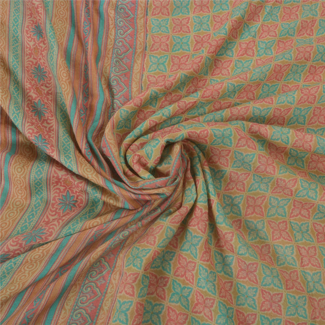 Cream Heavy Saree Pure Woolen Printed 5 Yd Fabric Premium Sari