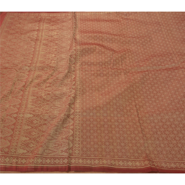 Sanskriti Vintage Red Heavy Saree Blend Silk Woven Craft Fabric Ethnic Sari