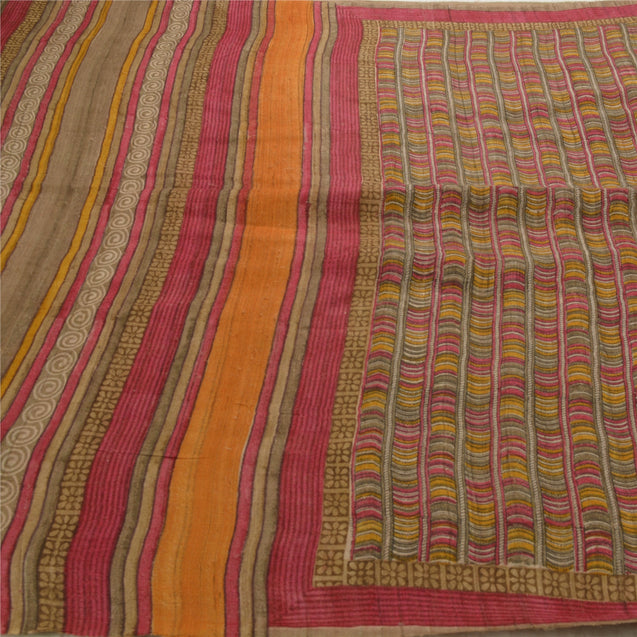 Heavy Saree Printed 100% Pure Khadi Fabric 5 Yd Floral Sari