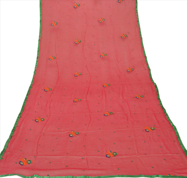 New Dupatta Long Scarf Chiffon Silk Pink Hijab Embroidered Veil Floral Stole