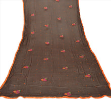 Load image into Gallery viewer, Sanskriti New Dupatta Long Scarf Chiffon Silk Brown Hijab Embroidered Wrap Veil