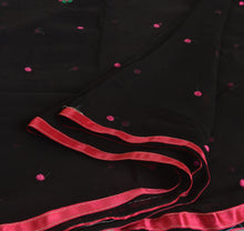 Load image into Gallery viewer, Sanskriti New Dupatta Long Scarf Chiffon Silk Black Hijab Embroidered Wrap Veil