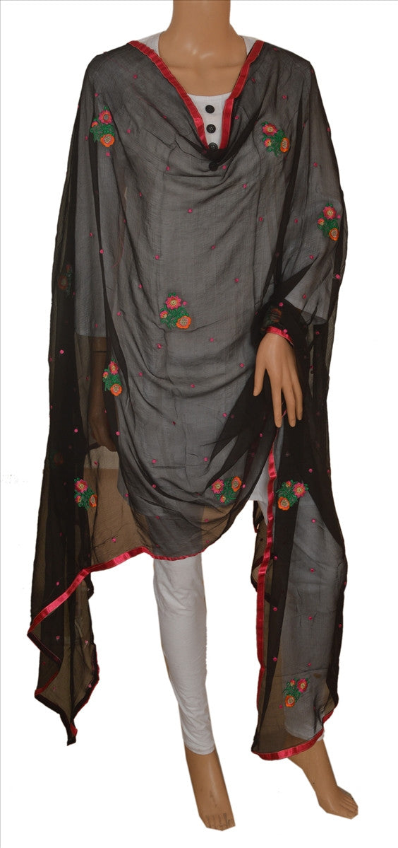 Sanskriti New Dupatta Long Scarf Chiffon Silk Black Hijab Embroidered Wrap Veil